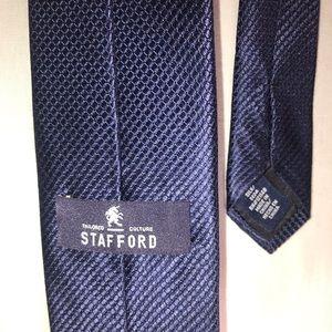 Mens Tie Stafford Silk 60 in Navy Blue Grenadine